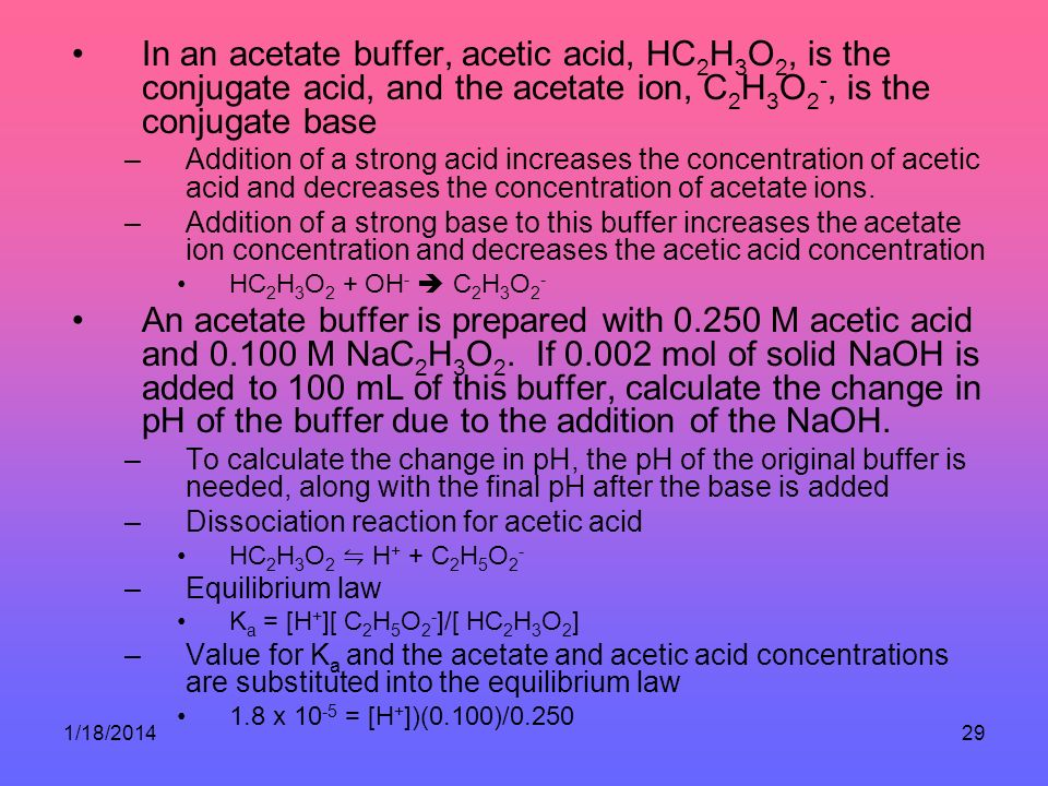 1/18/201429 In an acetate buffer, acetic acid, HC 2 H 3 O 2, is the conjugate acid, and the acetate ion, C 2 H 3 O 2 -, is the conjugate base –Addition of a strong acid increases the concentration of acetic acid and decreases the concentration of acetate ions.
