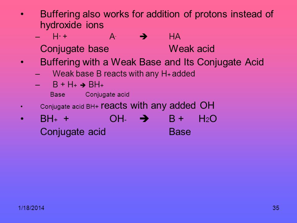 1/18/201435 Buffering also works for addition of protons instead of hydroxide ions –H + + A - HA Conjugate base Weak acid Buffering with a Weak Base and Its Conjugate Acid –Weak base B reacts with any H + added –B + H + BH + Base Conjugate acid Conjugate acid BH+ reacts with any added OH BH + + OH - B + H 2 O Conjugate acid Base