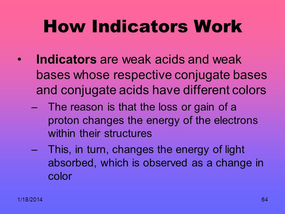 1/18/201464 How Indicators Work Indicators are weak acids and weak bases whose respective conjugate bases and conjugate acids have different colors –The reason is that the loss or gain of a proton changes the energy of the electrons within their structures –This, in turn, changes the energy of light absorbed, which is observed as a change in color