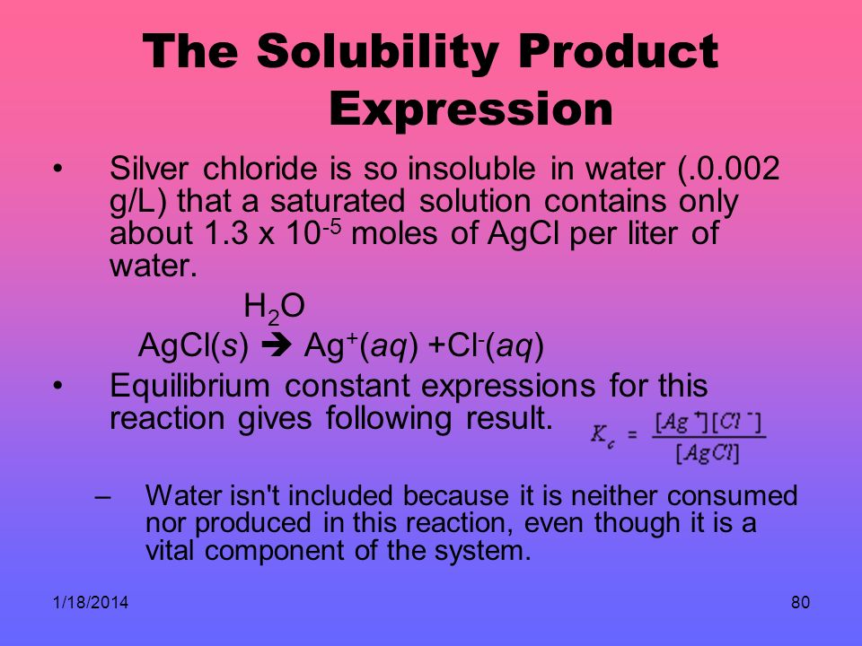 1/18/201480 The Solubility Product Expression Silver chloride is so insoluble in water (.0.002 g/L) that a saturated solution contains only about 1.3 x 10 -5 moles of AgCl per liter of water.