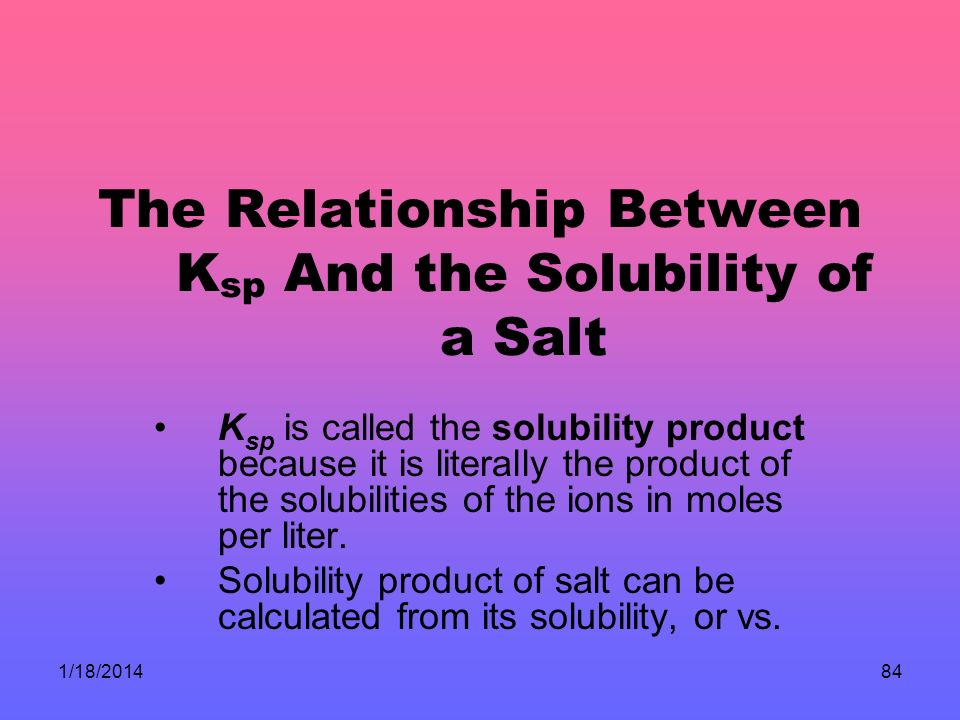 1/18/201484 The Relationship Between K sp And the Solubility of a Salt K sp is called the solubility product because it is literally the product of the solubilities of the ions in moles per liter.