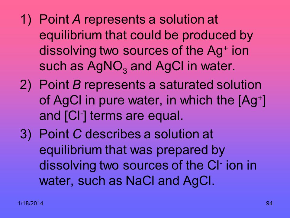 1/18/201494 1)Point A represents a solution at equilibrium that could be produced by dissolving two sources of the Ag + ion such as AgNO 3 and AgCl in water.