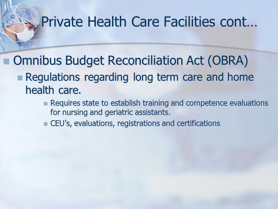 Private Health Care Facilities cont… Omnibus Budget Reconciliation Act (OBRA) Omnibus Budget Reconciliation Act (OBRA) Regulations regarding long term