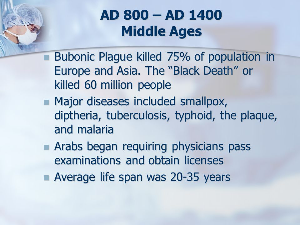 AD 800 – AD 1400 Middle Ages Bubonic Plague killed 75% of population in Europe and Asia. The Black Death or killed 60 million people Bubonic Plague ki