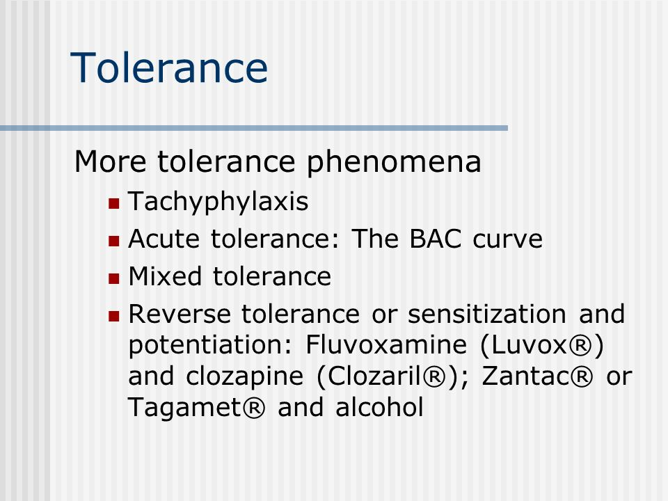 Elimination phenomena Elimination half-life and side effects Tolerance and Mithradatism Metabolic tolerance or enzyme- induction tolerance Cross-toler