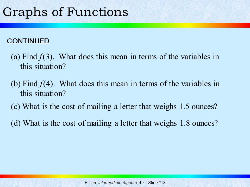 Blitzer, Intermediate Algebra, 4e – Slide #13 Graphs of Functions (a) Find f (3). What does this mean in terms of the variables in this situation? CON