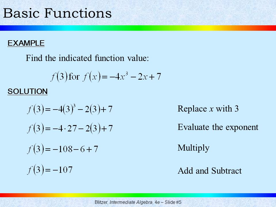 Blitzer, Intermediate Algebra, 4e – Slide #5 Basic FunctionsEXAMPLE SOLUTION Find the indicated function value: Replace x with 3 Evaluate the exponent