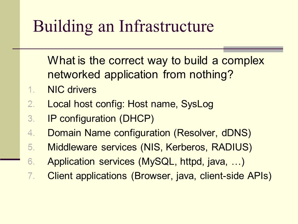 Building an Infrastructure What is the correct way to build a complex networked application from nothing.