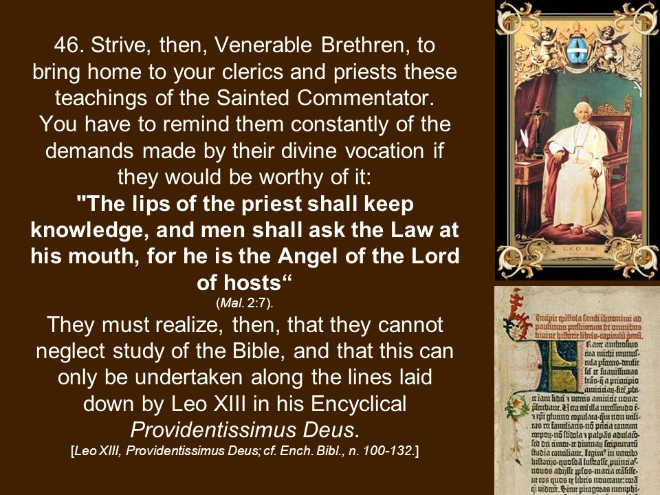 46. Strive, then, Venerable Brethren, to bring home to your clerics and priests these teachings of the Sainted Commentator. You have to remind them co