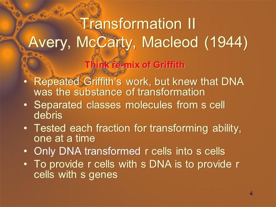 5 Transformation II Avery, McCarty, Macleod (1944)