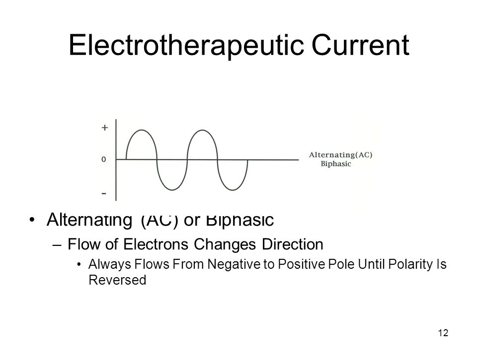 12 Electrotherapeutic Current Alternating (AC) or Biphasic –Flow of Electrons Changes Direction Always Flows From Negative to Positive Pole Until Pola