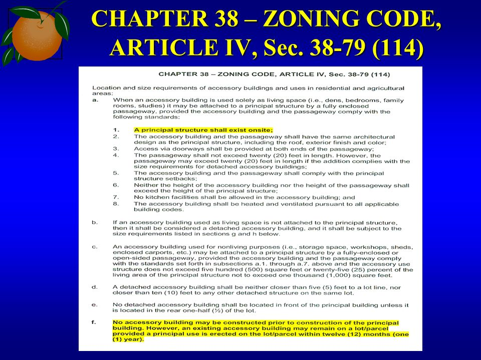 CHAPTER 38 – ZONING CODE, ARTICLE IV, Sec. 38-79 (114)