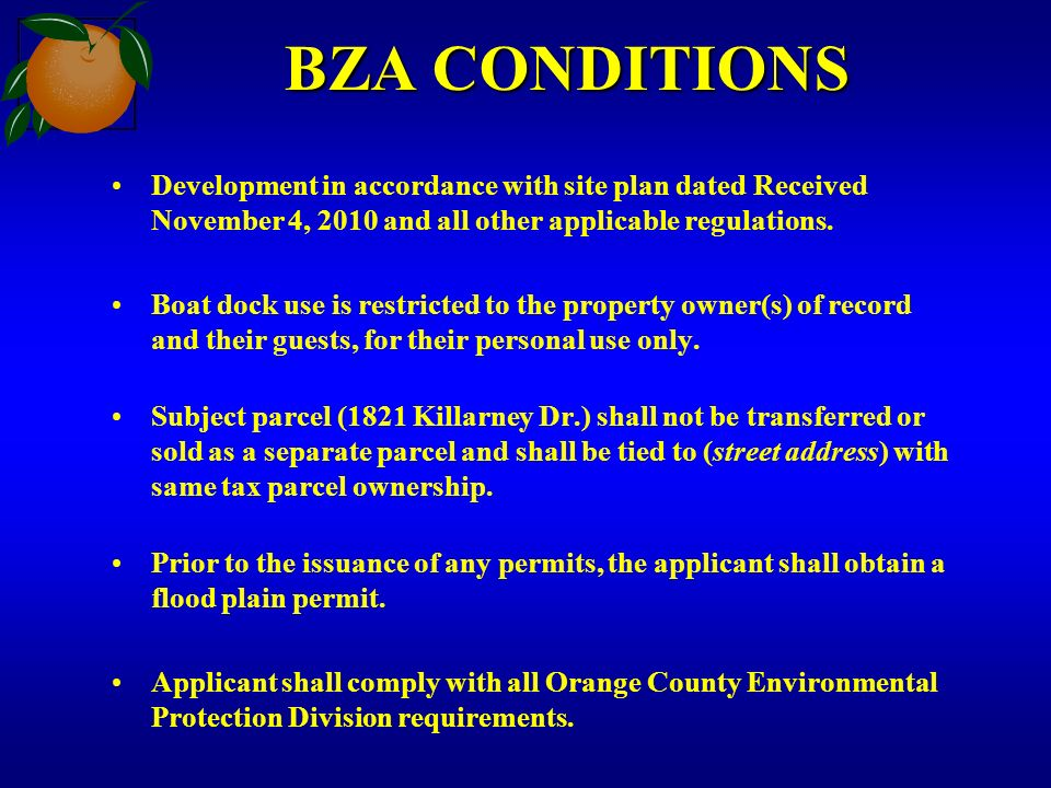BZA CONDITIONS Development in accordance with site plan dated Received November 4, 2010 and all other applicable regulations. Boat dock use is restric