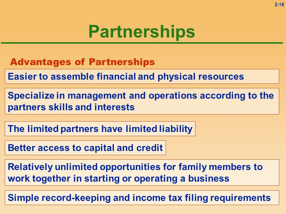 2-18 Partnerships Advantages of Partnerships Easier to assemble financial and physical resources Specialize in management and operations according to