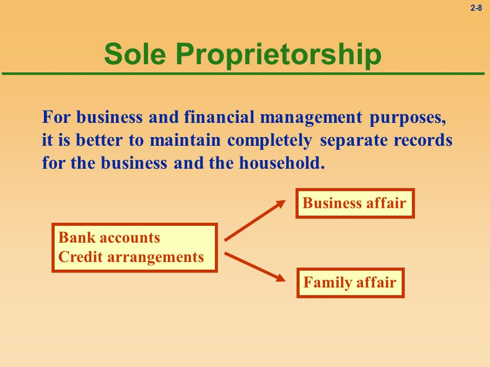 2-8 Sole Proprietorship For business and financial management purposes, it is better to maintain completely separate records for the business and the