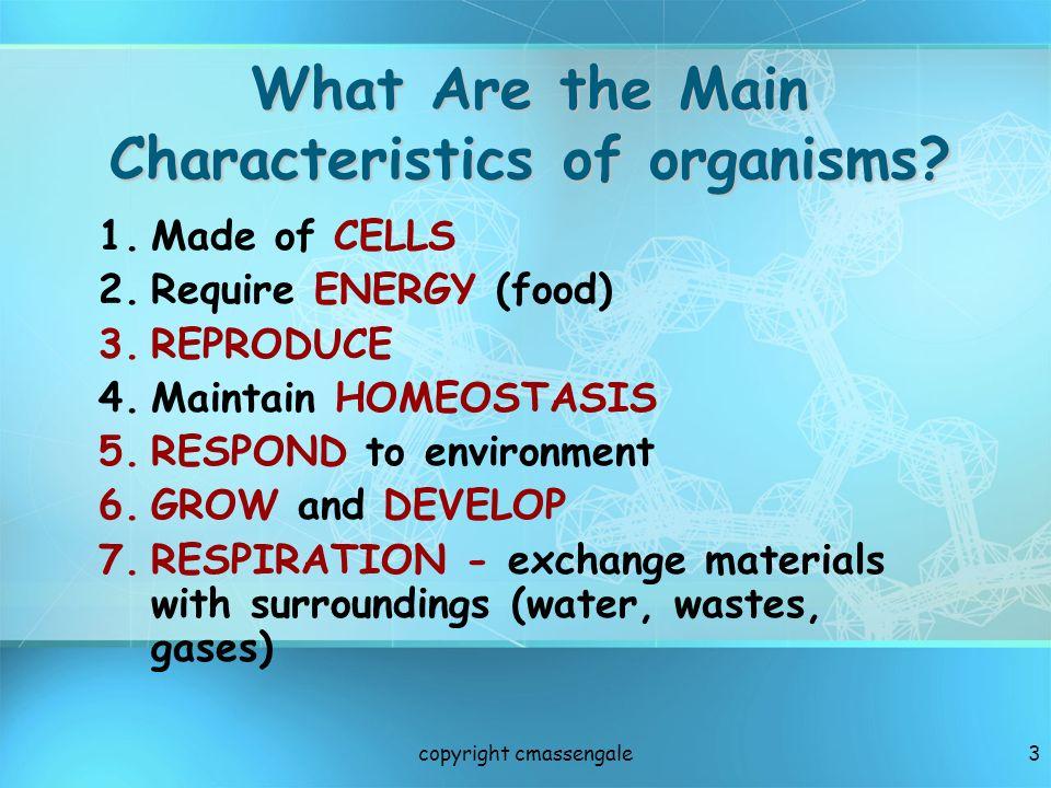 4 LEVELS OF ORGANIZATION Nonliving Levels: 1.ATOM (element) 2.MOLECULE (compounds like carbohydrates & proteins) 3.ORGANELLES (nucleus, ER, Golgi …) copyright cmassengale