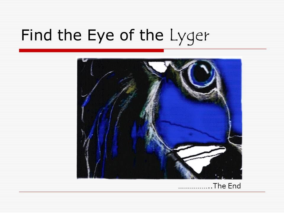 Find the Eye of the Lyger ……………..The End