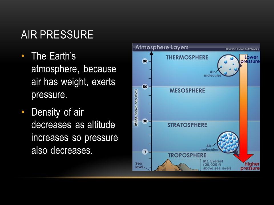 PRESSURE-TEMPERATURE-DENSITY Air Pressure versus Temperature At the same density, warm air exerts more pressure than cooler air.