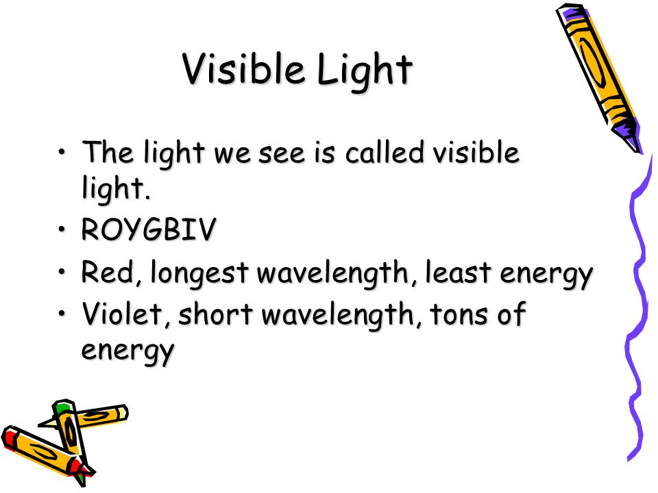 Visible Light The light we see is called visible light.The light we see is called visible light.