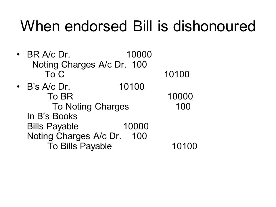 When endorsed Bill is dishonoured BR A/c Dr. 10000 Noting Charges A/c Dr. 100 To C 10100 Bs A/c Dr. 10100 To BR 10000 To Noting Charges 100 In Bs Book