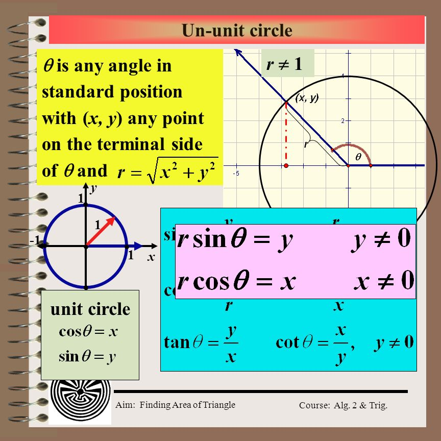 Aim: Finding Area of Triangle Course: Alg. 2 & Trig. Aim: How do we find the area of a triangle when given two adjacent sides and the included angle?