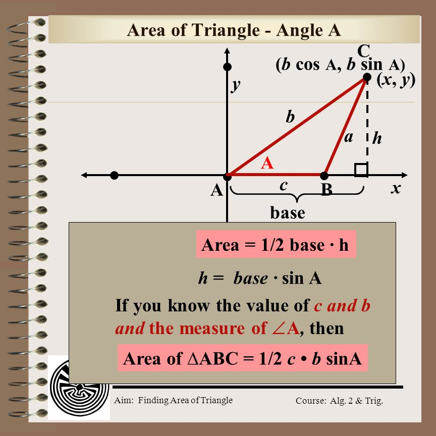 Aim: Finding Area of Triangle Course: Alg. 2 & Trig. Model Problem (-3, 4) is a point on the terminal side of. Find the sine, cosine, and tangent of.