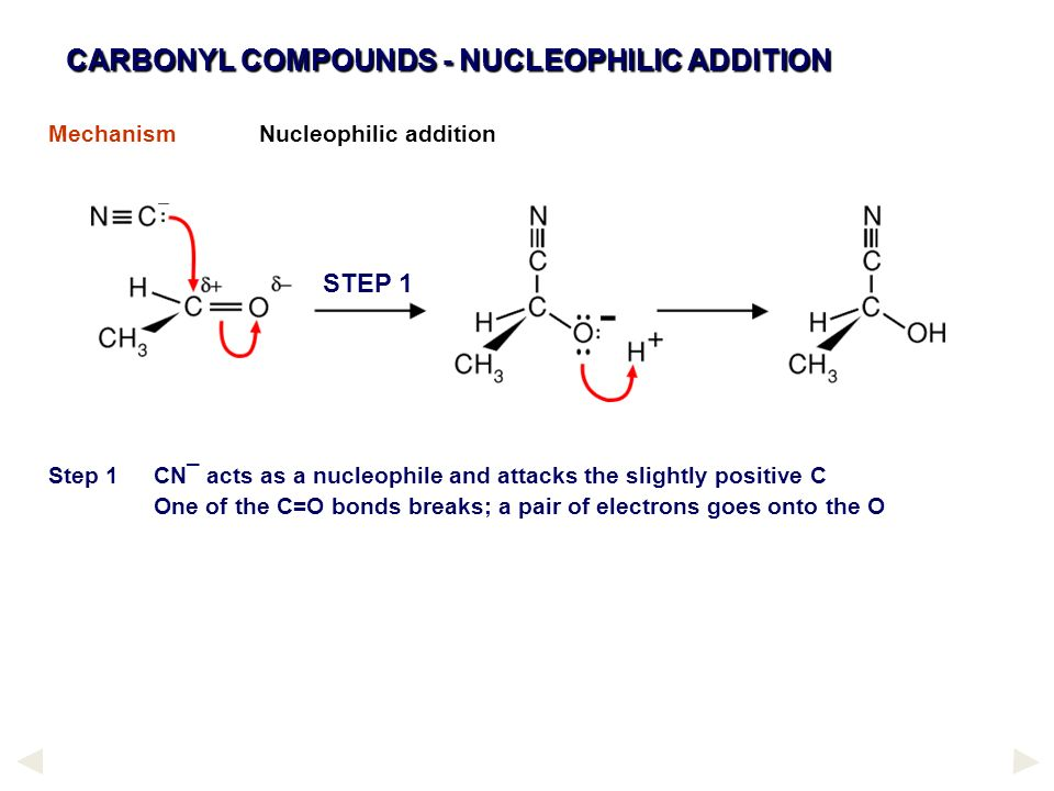 CARBONYL COMPOUNDS - NUCLEOPHILIC ADDITION MechanismNucleophilic addition Step 1CN¯ acts as a nucleophile and attacks the slightly positive C One of t