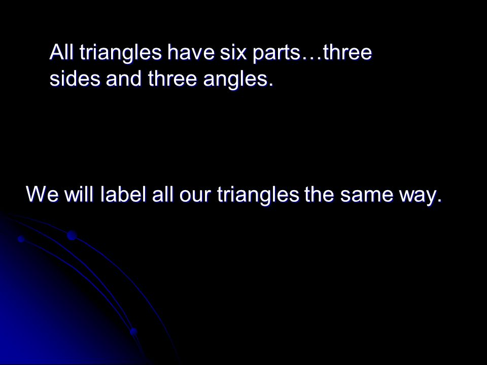 We will label all our triangles the same way.