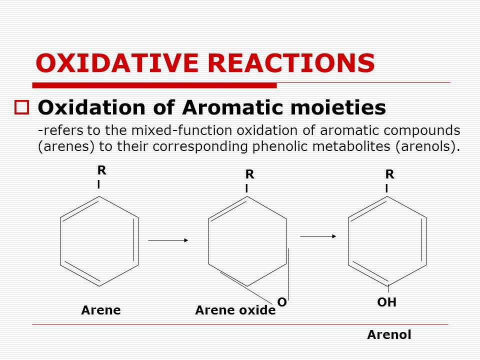 OXIDATIVE REACTIONS Oxidation of Aromatic moieties -refers to the mixed-function oxidation of aromatic compounds (arenes) to their corresponding pheno