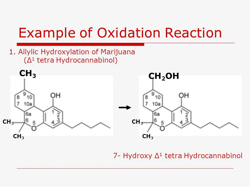 Example of Oxidation Reaction 1. Allylic Hydroxylation of Marijuana (Δ 1 tetra Hydrocannabinol) CH 3 CH 2 OH CH 3 7- Hydroxy Δ 1 tetra Hydrocannabinol