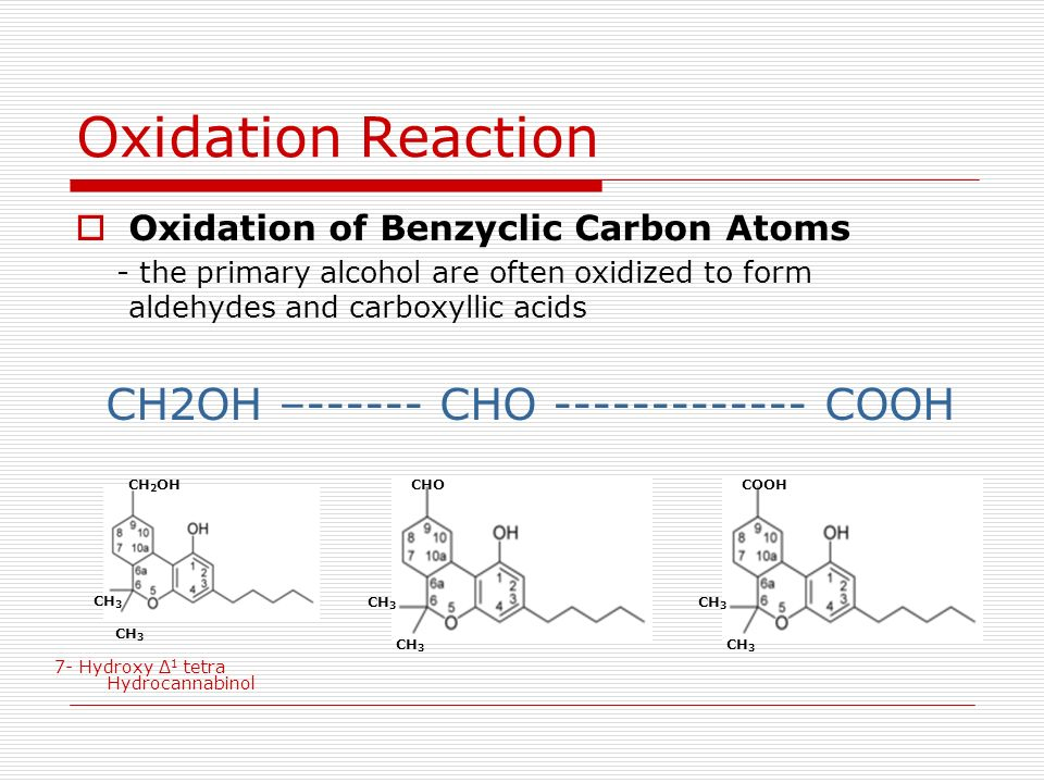 Oxidation of Benzyclic Carbon Atoms - the primary alcohol are often oxidized to form aldehydes and carboxyllic acids CH2OH –------ CHO ------------- C