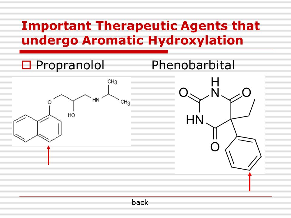 Important Therapeutic Agents that undergo Aromatic Hydroxylation Propranolol Phenobarbital back