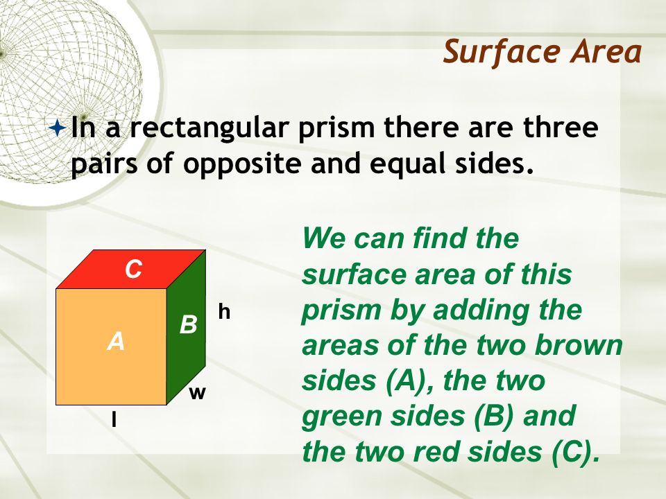 Surface Area In a rectangular prism there are three pairs of opposite and equal sides. l w h We can find the surface area of this prism by adding the