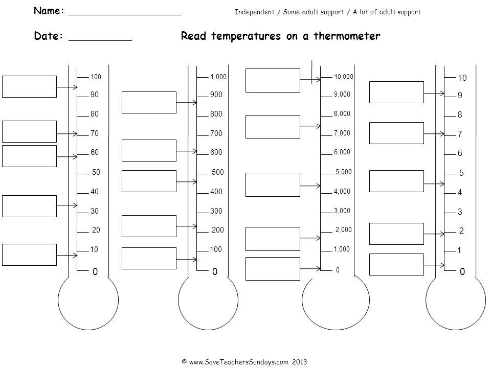 Answers 20 30 40 50 8°C 0 10 34°C 59°C 95°C 71°C 60 70 80 90 100 200 300 400 500 60°C 0 100 230°C 460°C 870°C 620°C 600 700 800 900 1,000 2,000 3,000 4,000 5,000 100°C 0 1,000 1,700°C 4,400°C 9,900°C 7,500°C 6,000 7,000 8,000 9,000 10,000 2 3 4 5 0.3°C 0 1 1.9°C 4.5°C 9.2°C 7.1°C 6 7 8 9 10 © www.SaveTeachersSundays.com 2013
