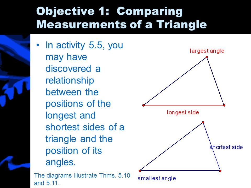 Objective 1: Comparing Measurements of a Triangle In activity 5.5, you may have discovered a relationship between the positions of the longest and sho