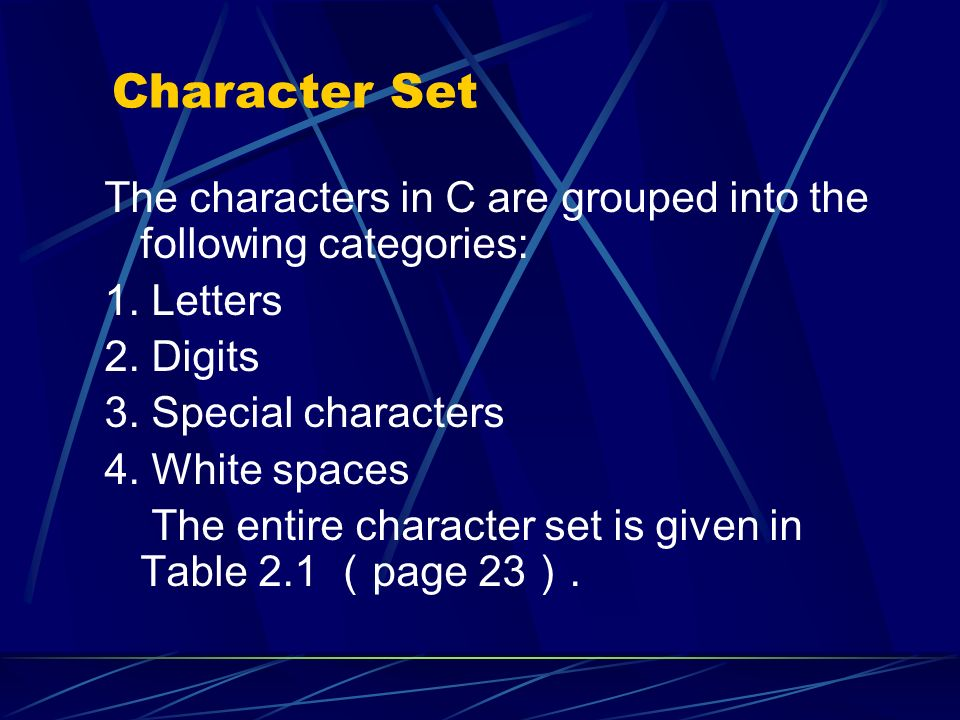 The characters in C are grouped into the following categories: 1. Letters 2. Digits 3. Special characters 4. White spaces The entire character set is