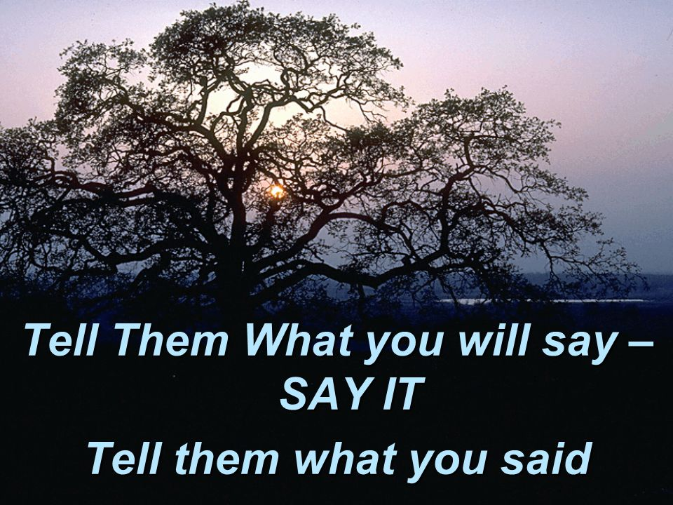 Tell Them What you will say – SAY IT Tell them what you said