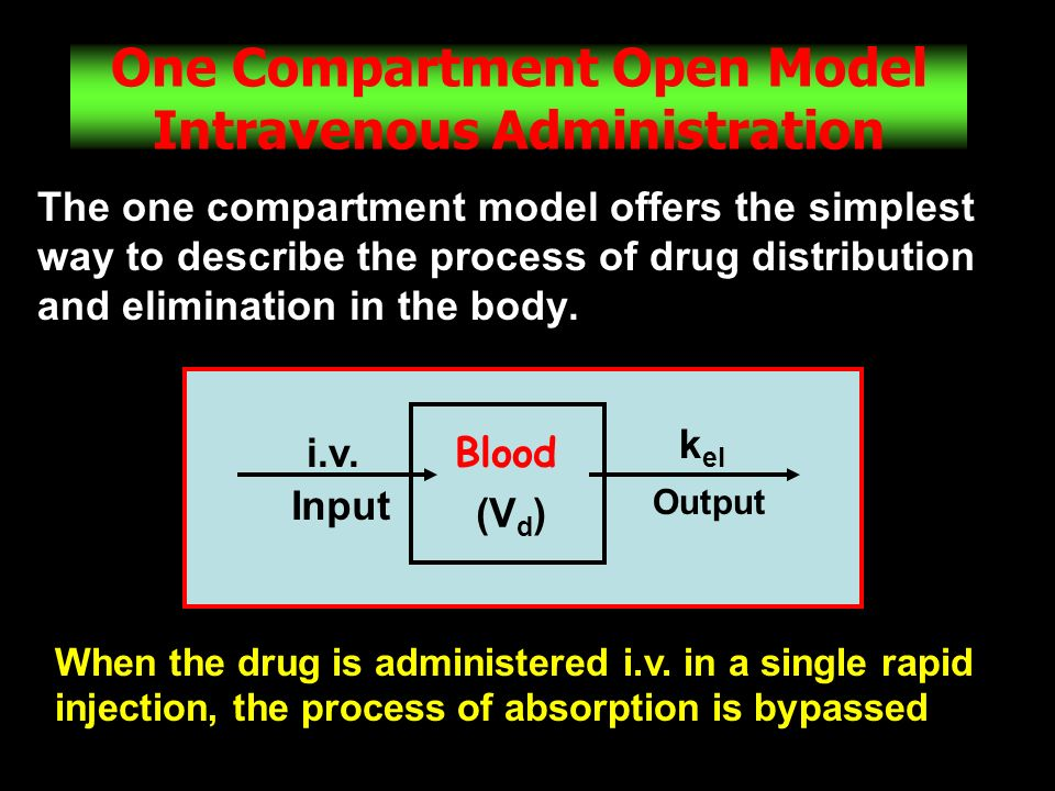 17 One Compartment Open Model Intravenous Administration The one compartment model offers the simplest way to describe the process of drug distributio