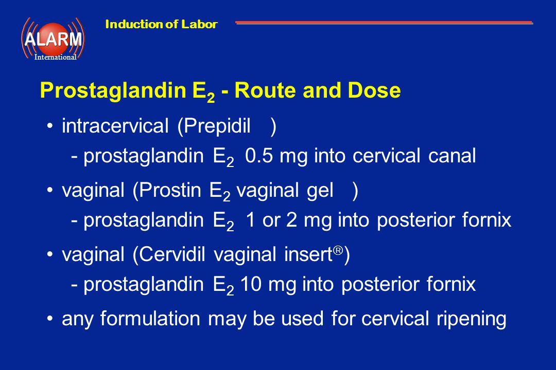 Induction of Labor International Prostaglandin E 2 - Route and Dose intracervical (Prepidil ) -prostaglandin E 2 0.5 mg into cervical canal vaginal (P