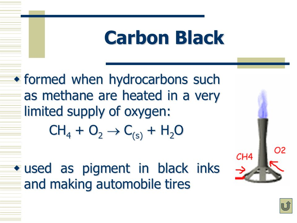 Carbon Black formed when hydrocarbons such as methane are heated in a very limited supply of oxygen: formed when hydrocarbons such as methane are heat