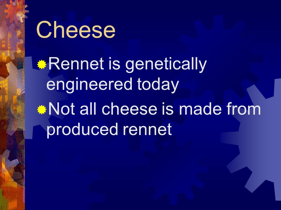 Cheese Rennet is genetically engineered today Not all cheese is made from produced rennet