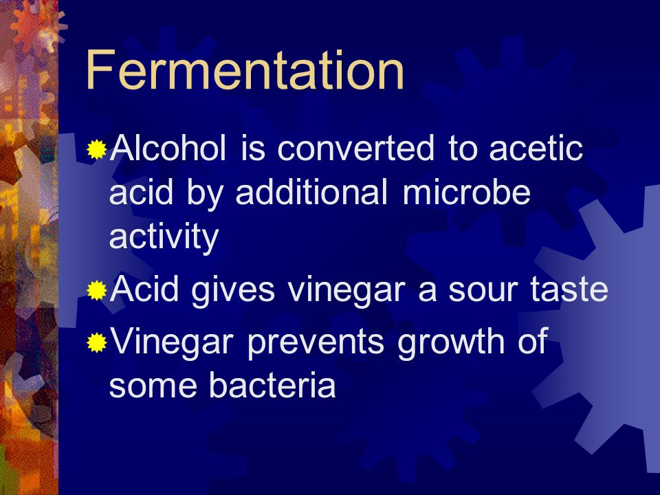 Fermentation Alcohol is converted to acetic acid by additional microbe activity Acid gives vinegar a sour taste Vinegar prevents growth of some bacter