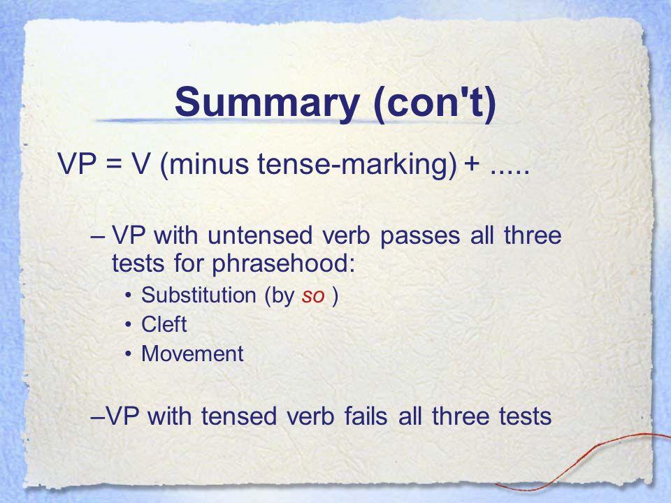 Summary (con t) VP = V (minus tense-marking) +.....