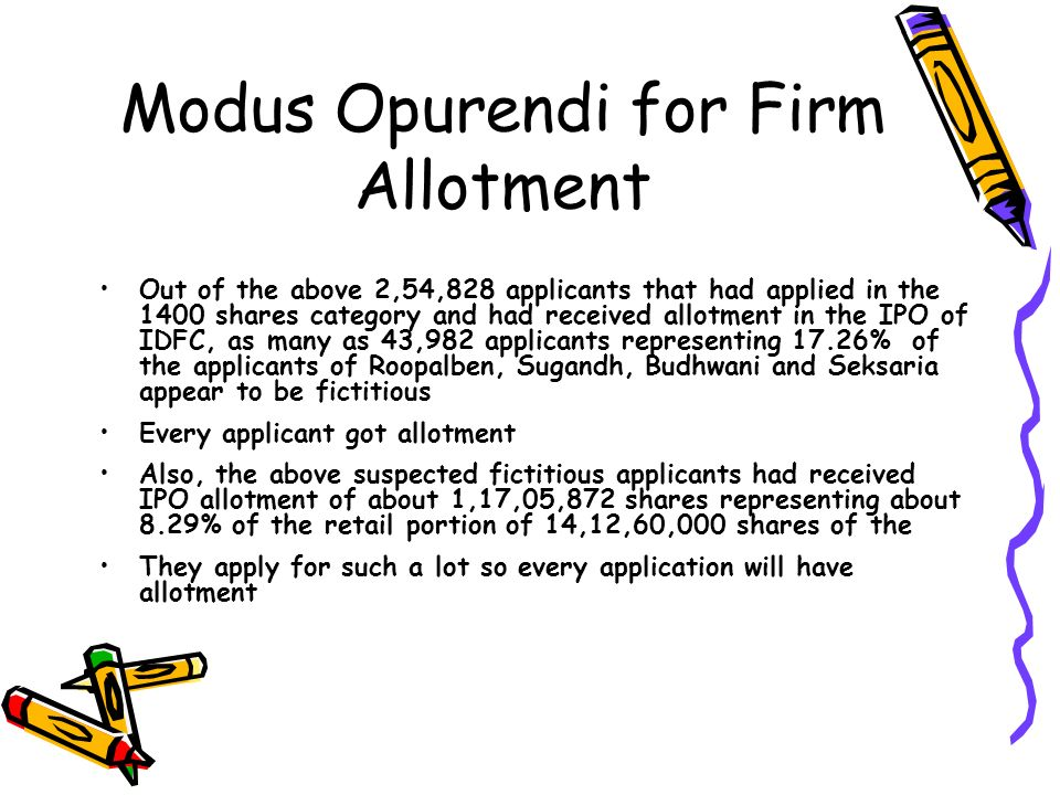 Modus Opurendi for Firm Allotment Out of the above 2,54,828 applicants that had applied in the 1400 shares category and had received allotment in the