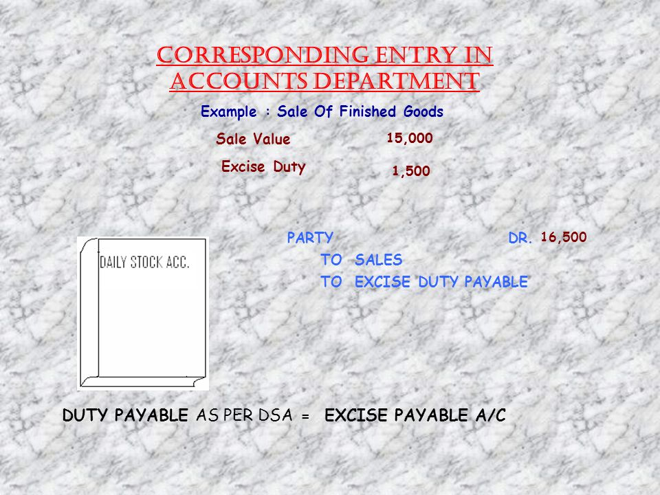 Corresponding Entry in Accounts Department Example : Sale Of Finished Goods Sale Value 15,000 Excise Duty 1,500 PARTY DR.