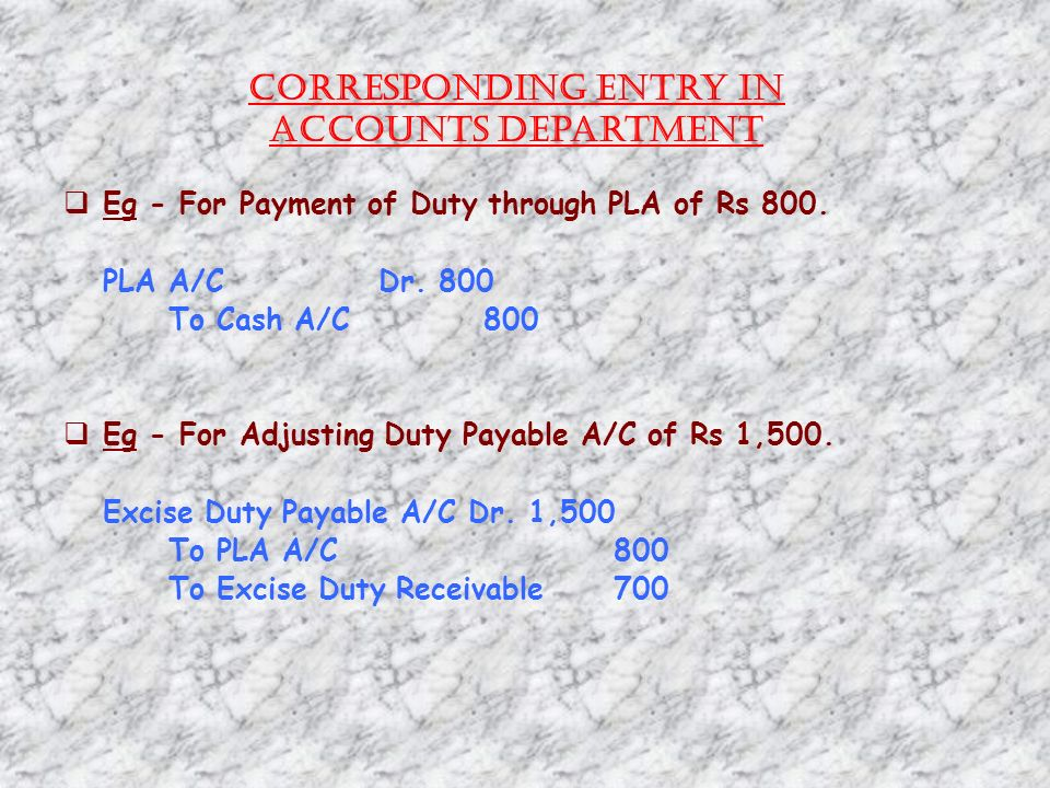 Corresponding Entry in Accounts Department Eg - For Payment of Duty through PLA of Rs 800.