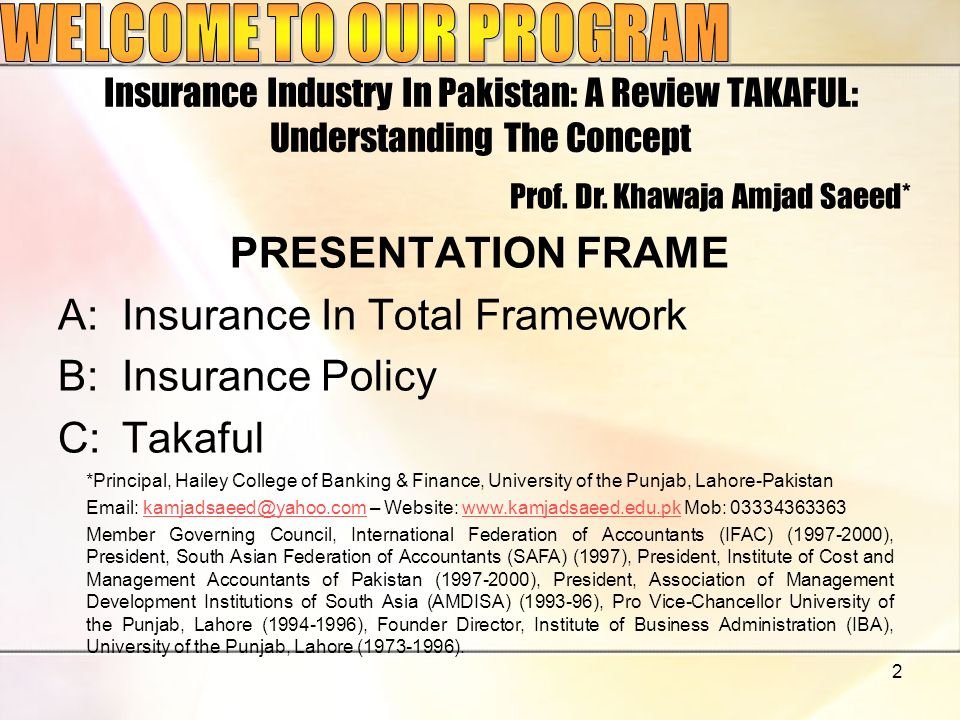 2 Insurance Industry In Pakistan: A Review TAKAFUL: Understanding The Concept PRESENTATION FRAME A:Insurance In Total Framework B:Insurance Policy C:T