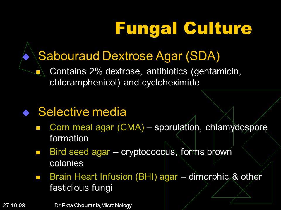 27.10.08 Dr Ekta Chourasia,Microbiology Fungal Culture Sabouraud Dextrose Agar (SDA) Contains 2% dextrose, antibiotics (gentamicin, chloramphenicol) a