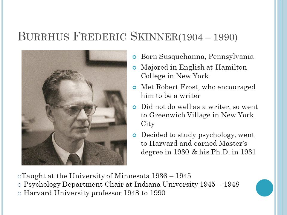 B URRHUS F REDERIC S KINNER(1904 – 1990) Born Susquehanna, Pennsylvania Majored in English at Hamilton College in New York Met Robert Frost, who encouraged him to be a writer Did not do well as a writer, so went to Greenwich Village in New York City Decided to study psychology, went to Harvard and earned Masters degree in 1930 & his Ph.D.