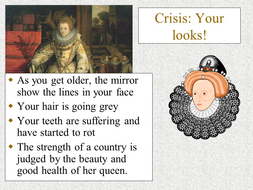 Crisis: Your looks! As you get older, the mirror show the lines in your face Your hair is going grey Your teeth are suffering and have started to rot